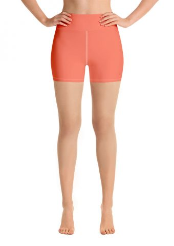 Her Everyday Yoga Shorts (Living Coral) on woman. Featuring high waist yoga leggings
