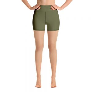 (Terrarium Moss) Her Everyday Yoga Shorts on woman. Featuring high waist yoga leggings