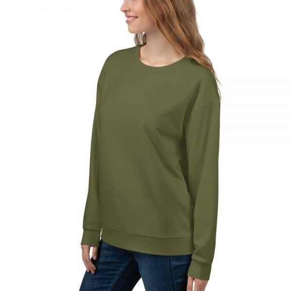 Her Everyday Sweatshirt (Terrarium Moss) on woman front angle