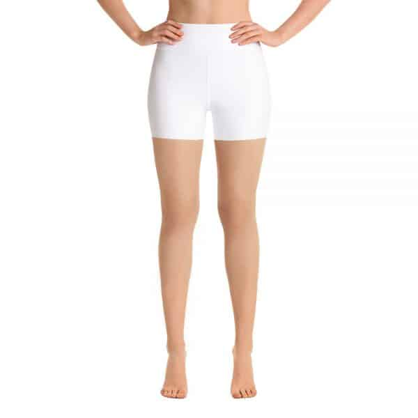 Her Everyday White Yoga Shorts on woman front (New Moon)